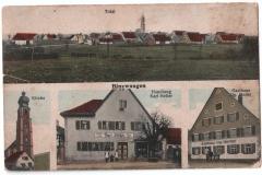 Ansichtskarte mit Ortsansicht, Kirche, Kolonialwarenhandlung Heller und Gasthaus Heller