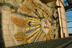 Heutiges Auge Gottes (vor der Restaurierung) mit sichtbaren Resten des Bischofsstabs auf der linken Seite
